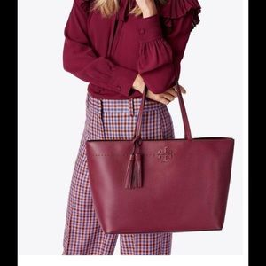 NEW Tory Burch McGraw Tote Imperial Red /Port NWOT